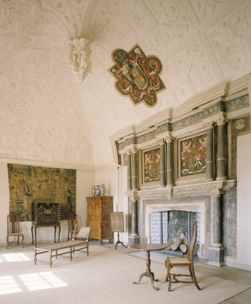 The Drawing Room at Canons Ashby, the domed plasterwork ceiling was installed by Sir John Dryden in 1632 and incorporates thistles pomegranates and Indian princesses