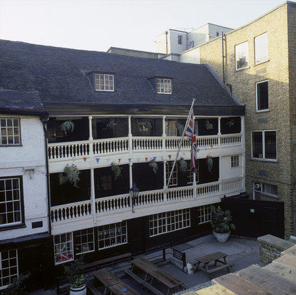 George Inn, exterior, (built 1677), the only remaining galleried inn in London