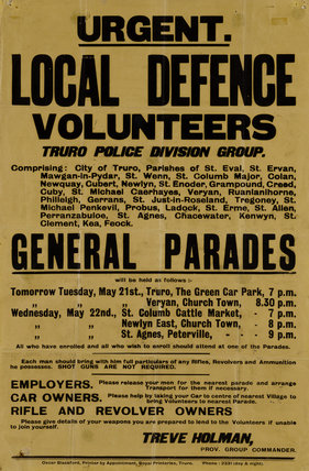 A recruiting poster at Trerice for the Local Defence Volunteers