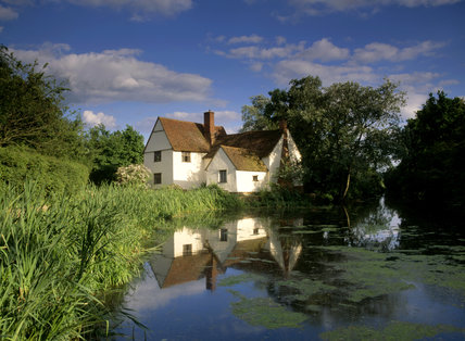 Willy Lott's cottage, the landscape immortalized by Constable in THE HAYWAIN and other paintings, at Flatford Mill which was once owned by the artist's father