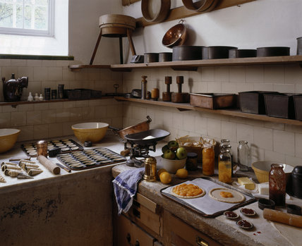 The Pastry Room at Petworth ready for baking fruit tarts with sieves, mixing bowls, baking trays, rolling pins, and a scale
