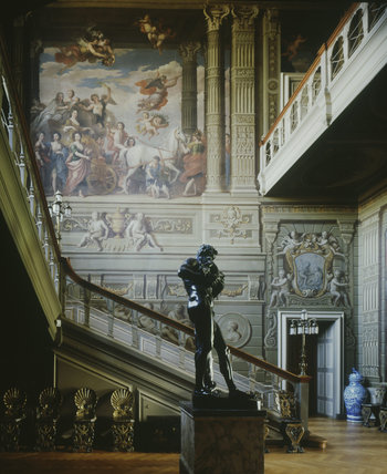View of the Grand Staircase showing the mural by Louis Laguerre of the Duchess of Somerset riding in a triumphal chariot