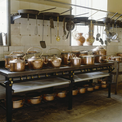 Batterie de Cuisine on the `turn of the century' gas range by Benham & Co