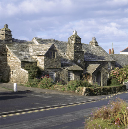 The front of the Old Post Office buildings in the centre of the village at Tintagel