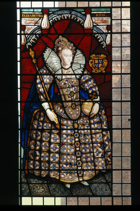Close-up view of stained glass window at Melford Hall depicting Queen Elizabeth