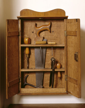 Close-up view of George Bernard Shaw's tool box in the Study at Shaw's Corner