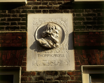Close-up of the plaque of Thomas Carlyle's Head on 24,Cheyne Walk, delinating his residence there (1834-81)