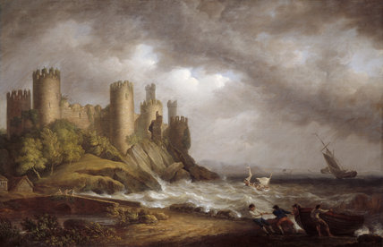 A painting of A VIEW OF CONWAY CASTLE by Nicholas Pocock