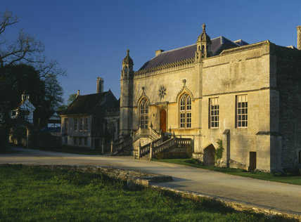 A view of the west front with the Gothick steps to the Hall