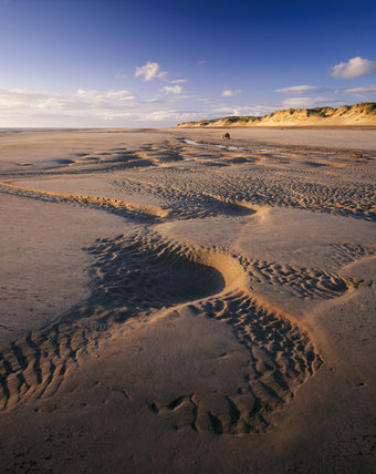 5000 year old human footprints in the holocene sediment on the beach at Formby Point