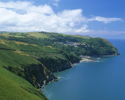 View of Countisbury Hill and Lynmouth taken from the foreland