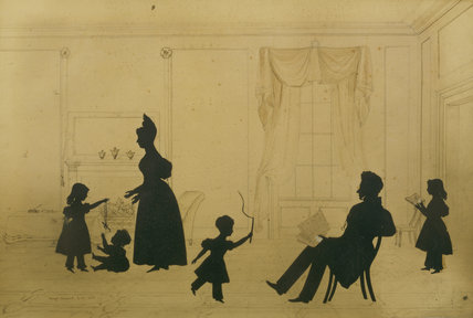 SILHOUETTE OF A FAMILY SCENE by August Edoart dated 1833