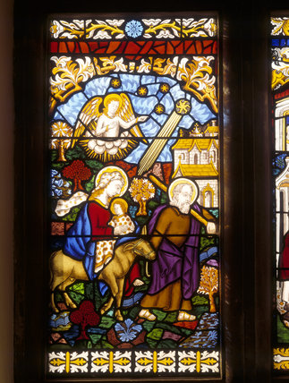 Stained glass representing The Flight into Egypt