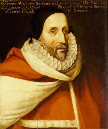JUDGE FRANCIS WINDHAM by an unknown artist, dated 1592