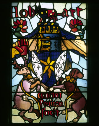 The Hobart Arms - stained glass heraldic panel in upper light of North window in the Long Gallery