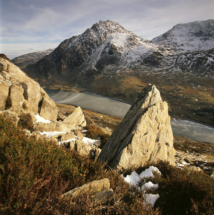 Tryfan and Llyn Ogwen seen from the slopes of Pen Yr Ole Wen