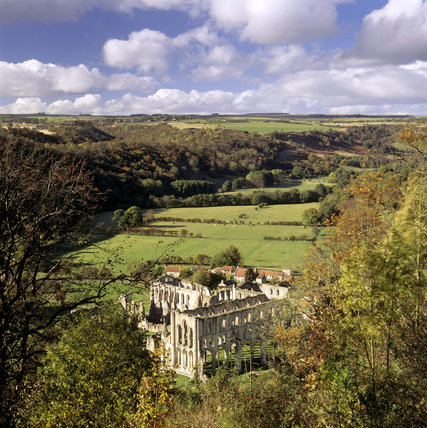 View from Rievaulx Terrace onto ruins of the Abbey (English Heritage) and the Rye Valley beyond