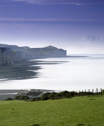 View to Belle Tout lighthouse and Birling Gap, along the chalk cliffs from Chyngton Farm, Sussex