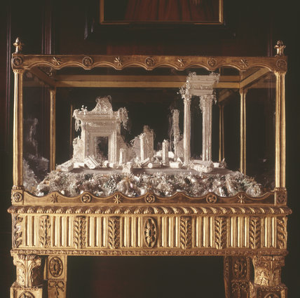 Mother-of-Pearl models of Classical Ruins by Betty Ratcliffe, made between 1765 and 1780 and found in the Long Gallery at Erddig