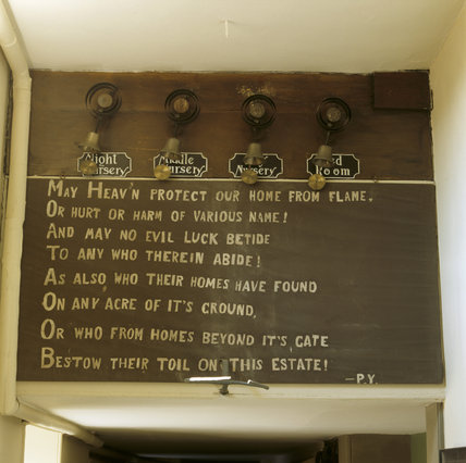 The Erddig Prayer found in the corridor, below some of the servants bells