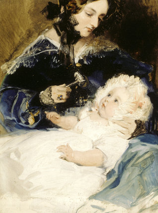 LADY LOUISA RUSSELL, MARCHIONESS OF ABERCORN (1812-1905) HOLDING HER DAUGHTER LADY HARRIETT HAMILTON (?1834-1913) by Sir Edwin Landseer (1802-73) from Shugborough Hall