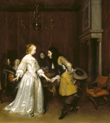 AN OFFICER MAKING HIS BOW TO A LADY by Gerard TerBorch 1617-81 from Polesden Lacy