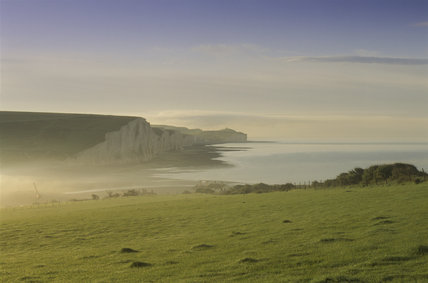 Looking to the chalk cliffs,skirting the Cuchmere Valley, from Chyngton Farm, East Sussex