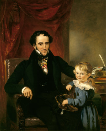 SIR GEORGE CREWE, 8TH BARONET AND HIS SON JOHN (1828) by Ramsay Richard Reinagle (1775-1862) at Calke Abbey in Derbyshire