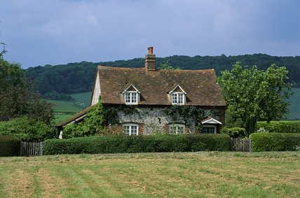 A traditional flint cottage in the village of Bradenham, near High Wycombe, Buckinghamshire
