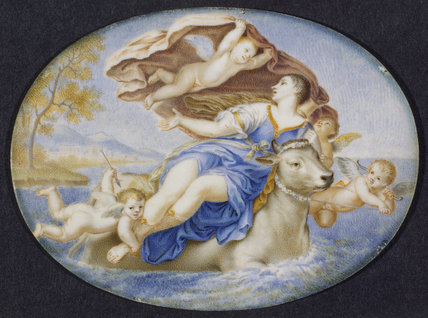 EUROPA AND THE BULL one of a pair of miniatures attributed to Jacques Charlier, from Stourhead