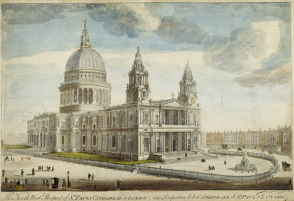 A painting of the view of THE NORTH PROSPECT OF ST PAUL'S CATHEDRAL