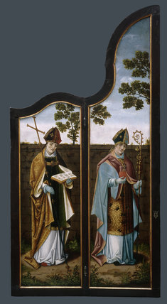 SAINT AMBROSE AND SAINT AUGUSTINE, Flemish 16th century altarpiece (1 of 4 wing panels) at Oxburgh Hall