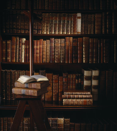Close up of books in the library at Felbrigg Hall