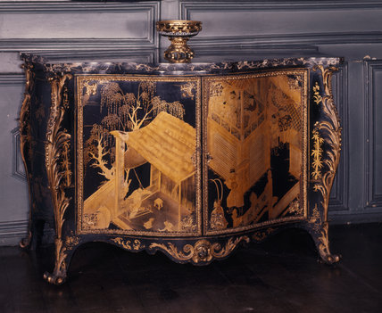 Blue Drawing Room at Powis, lacquer commode with oriental scenes and ormolu mounts by Pierre Langlois c. 1760's