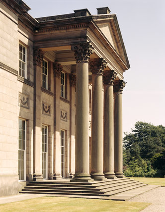 Detail of the main portico on the south elevation of Tatton Park