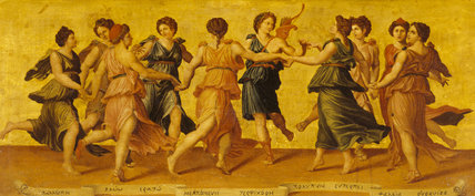 APOLLO AND THE MUSES, after Baldassare Peruzzi (1481-1536) in the Picture Gallery at Attingham Park