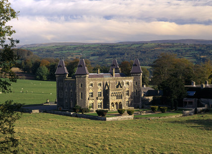 Newton House and the surrounding land of Dinefwr Park viewed from the north west