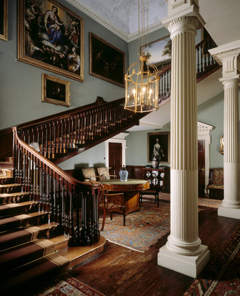 The Staircase Hall at Saltram viewed from the half landing of the staircase