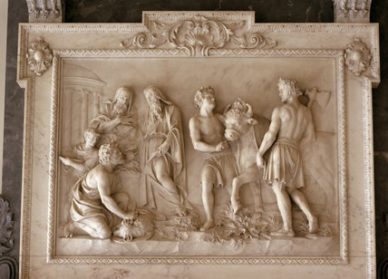 Sacrificial relief on the marble chimneypiece, in the Marble Hall, Clandon