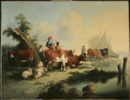 LANDSCAPE WITH CATTLE HERDERS BY A RIVER, 19th century English School, post-conservation at The Greyfriars at Worcester