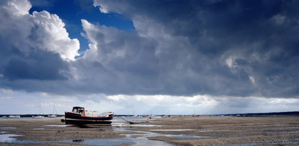Blakeney Point at Low Tide, storm clouds loom in the distance