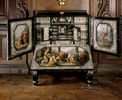 Detail of the ebony cabinet, inlaid with tortoiseshell and ivory of C17th Dutch origin, in the Long Gallery at Chirk Castle