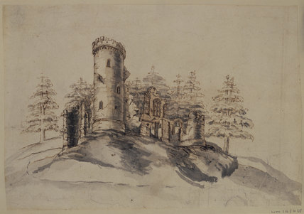 DESIGN FOR GOTHIC TOWER AT WIMPOLE c1749-51 by Sanderson Miller 1717-1780