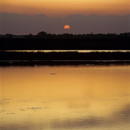 Sunset over the brackish pools on Kings Marsh