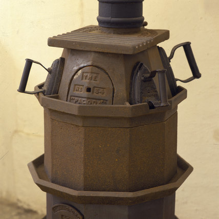 A stove in the laundry at Dunham Massey used for heating flat irons