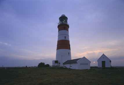 Dawn over the North Sea behind Orford lighthouse