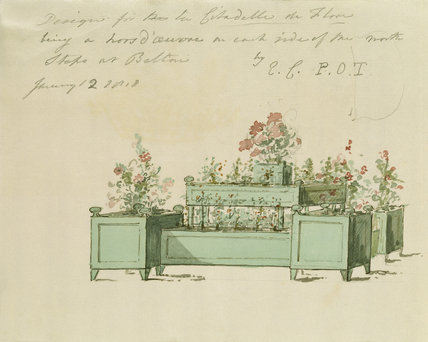 DESIGN FOR FLOWER STAND AT BELTON HOUSE c1818 by Elizabeth Cust 1776-1858)