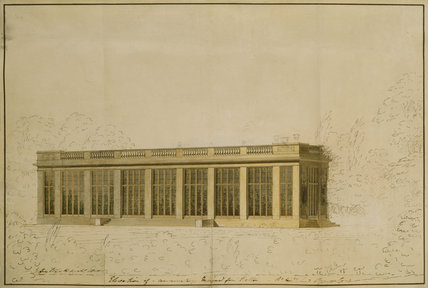 PERSPECTIVE DESIGN FOR THE CONSERVATORY AT BELTON HOUSE c1810 by Sir Jeffry Wyatville (1766-1840) Pen, ink, pencil, and watercolour