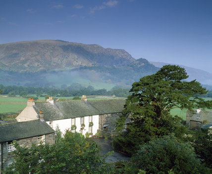 Distant view of Nook Farm, Rosthwaite, a family-run sheep and beef farm, offering bed & breakfast