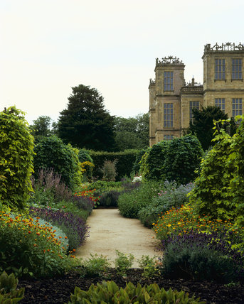 A corner of the Herb Garden at Hardwick Hall, with a corner of the House in the background